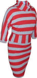 платье полосатое трикотажное с воротом