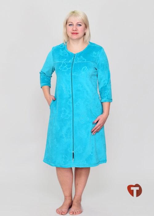 Голубой женский халат Белошвейка