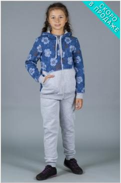 Светлый детский костюм комбинированный с синими рукавами