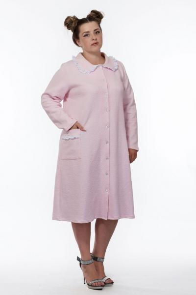 Халат женский розовый на пуговицах с кружевной отделкой