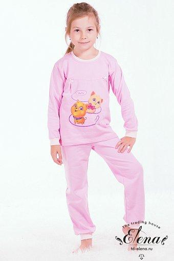 Костюм для девочки розовый с кошками