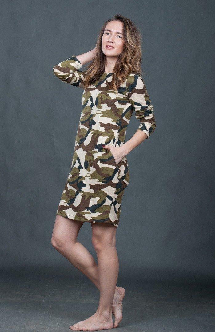 Платье камуфляж олива