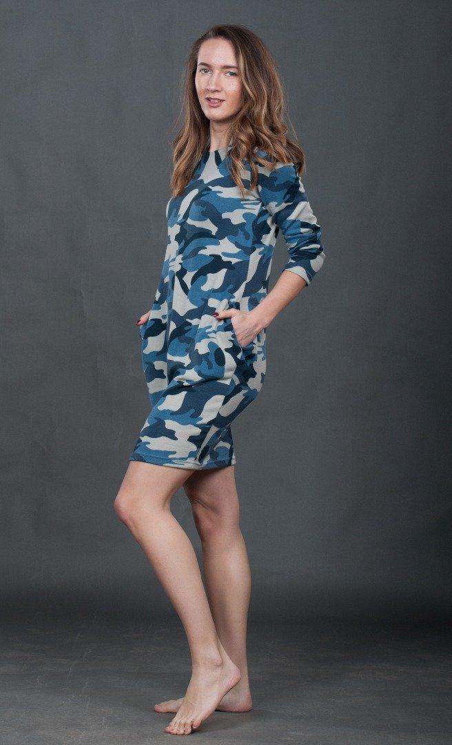 Платье камуфляж индиго