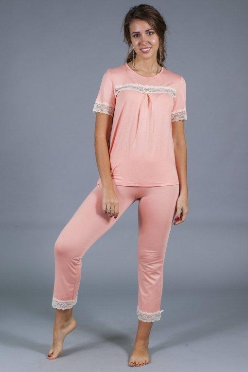 пижама кружева персиковая