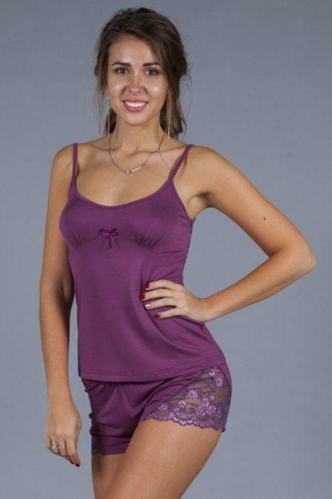 пижама с кружевной спиной фуксия