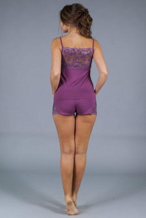 пижама с кружевной спиной фуксия сзади