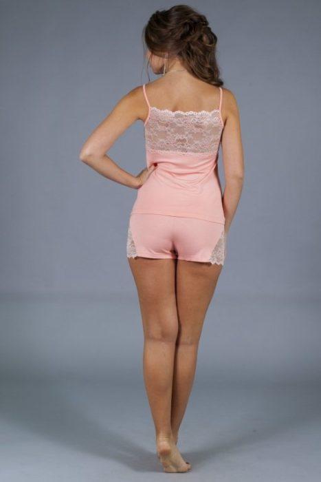 пижама с кружевнорй спиной персик сзади