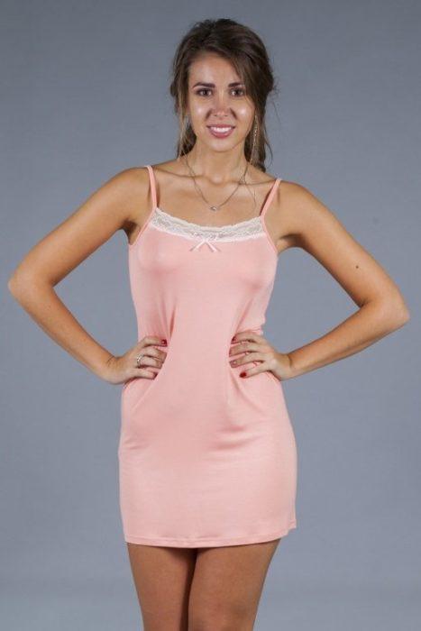 сорочка кружева розовая