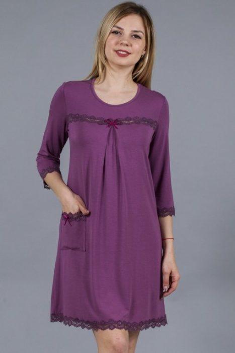 Сорочка кружева с рукавом фуксия