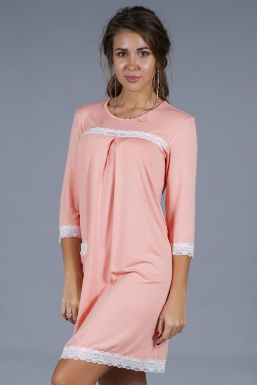 сорочка кружева с рукавом персик