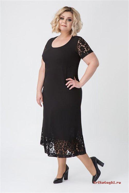 Платье черное с кружевной отделкой