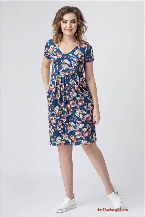 Платье синее с цветами по колено