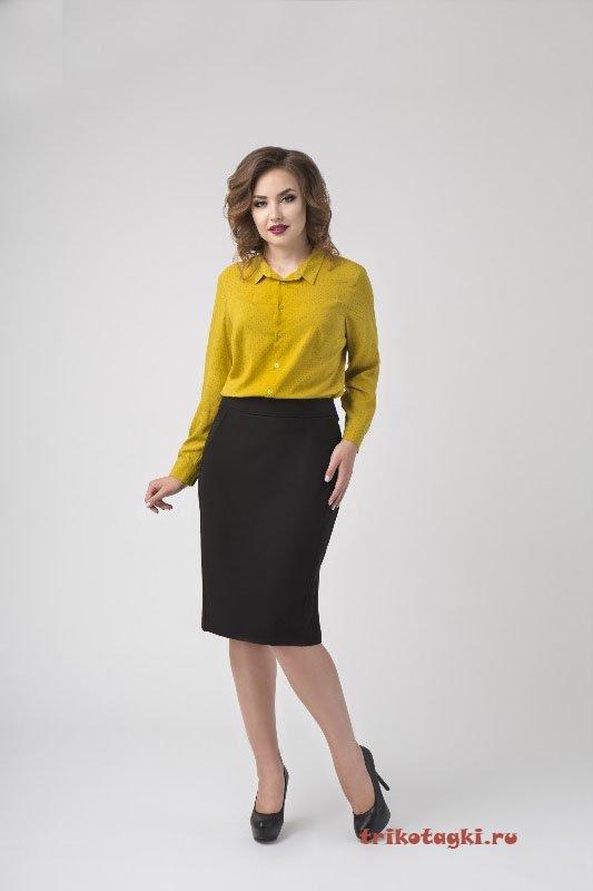 Блузка горчичная с длинным рукавом