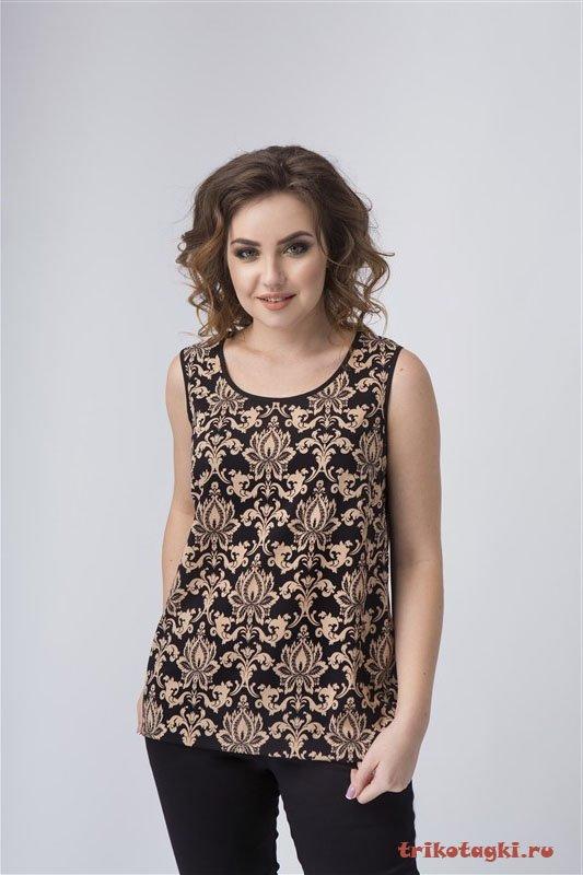Блузка с лотосами без рукавов