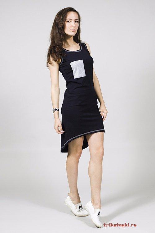 Платье молодежное с удлиненным сзади подолом
