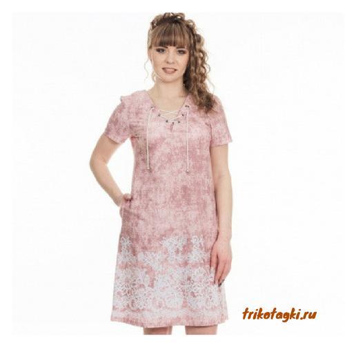 Платье розовое с принтом на подоле