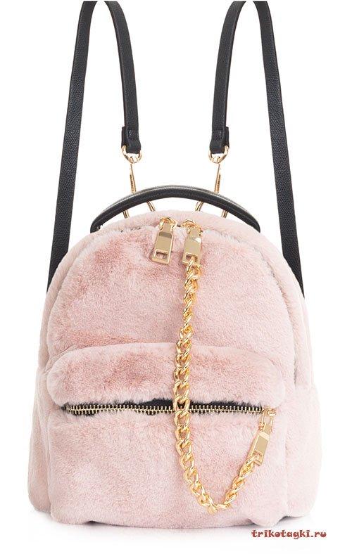 Меховой розовый рюкзак