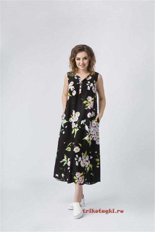 Платье черное длинное с цветами