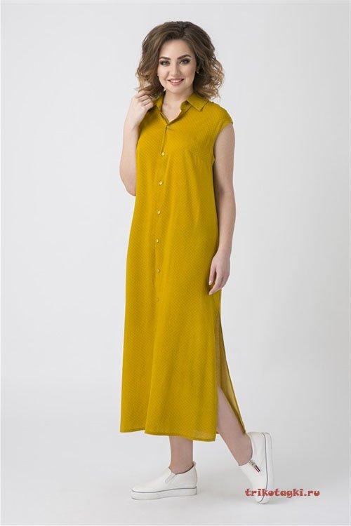Платье длинное горчица