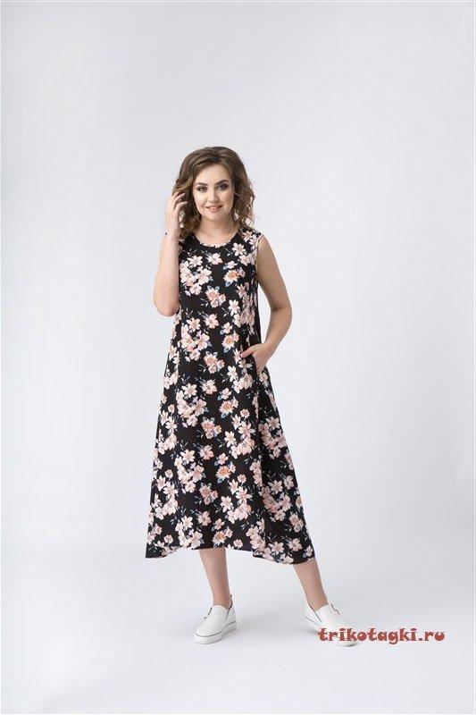Платье черное с цветами длинное