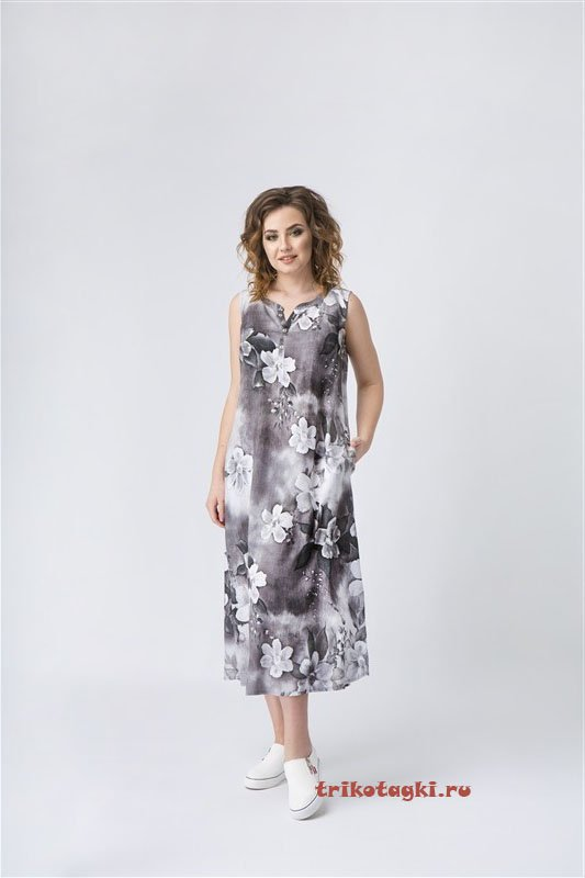 Платье длинное серое