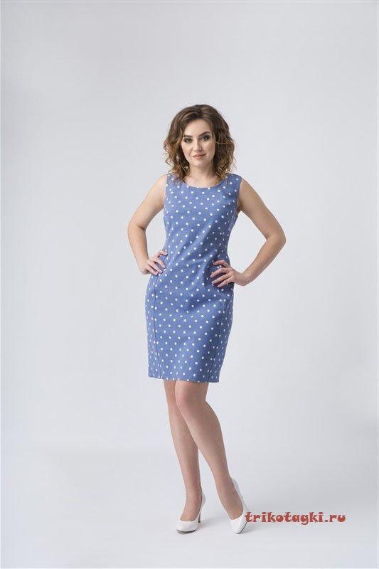Платье синее в белый мелкий горошек