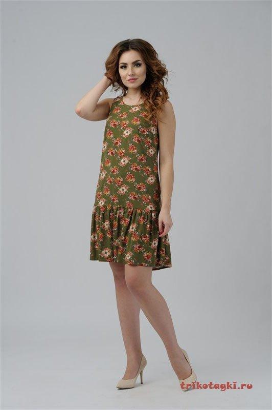 Платье зеленое с цветами