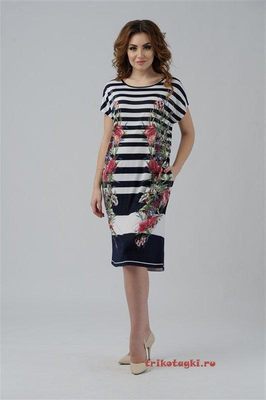 Платье полосатое с цветами по бокам