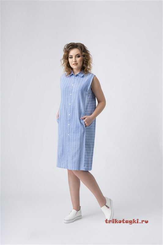 Платье - рубаха голубое полосатое