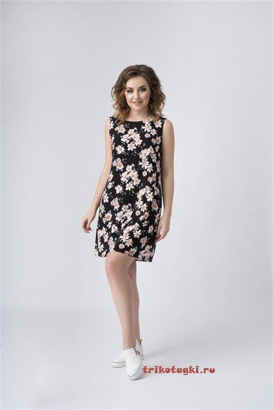Черное платье короткое с цветами
