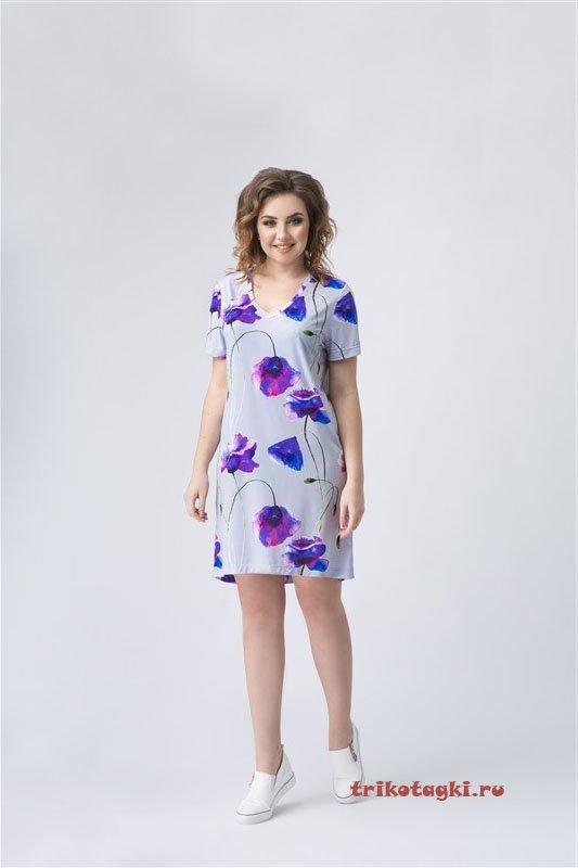 Платье с фиолетовыми цветами