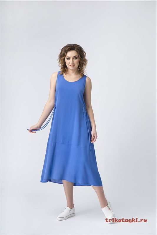 Легкий сарафан синий