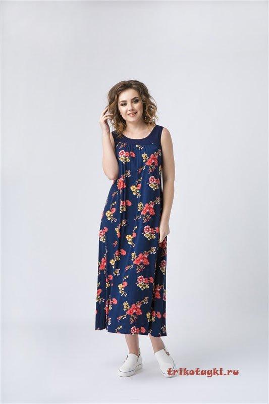 Платье длинное темно-синее с цветами
