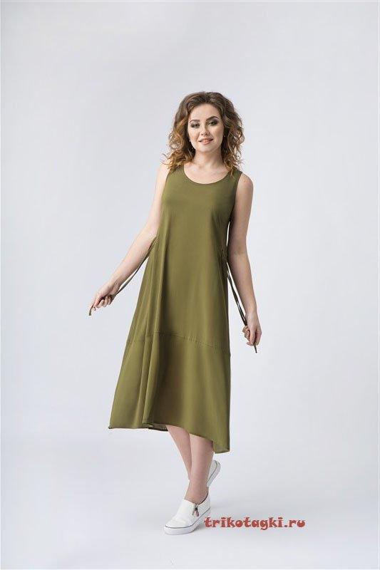 Легкий сарафан зеленый