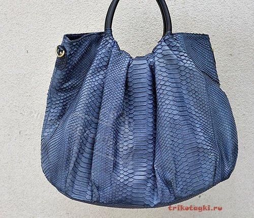 Сумка мешок питон синяя