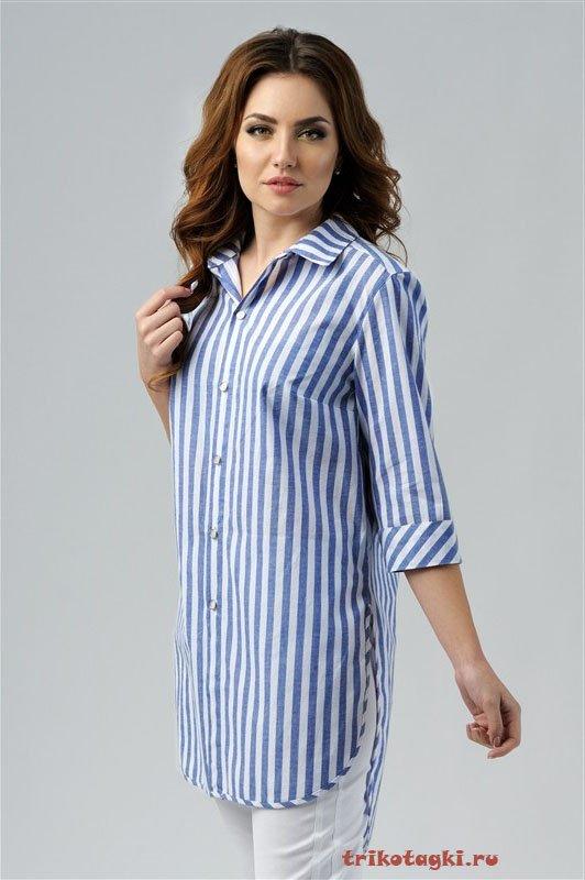 Туника - рубашка в голубую полоску