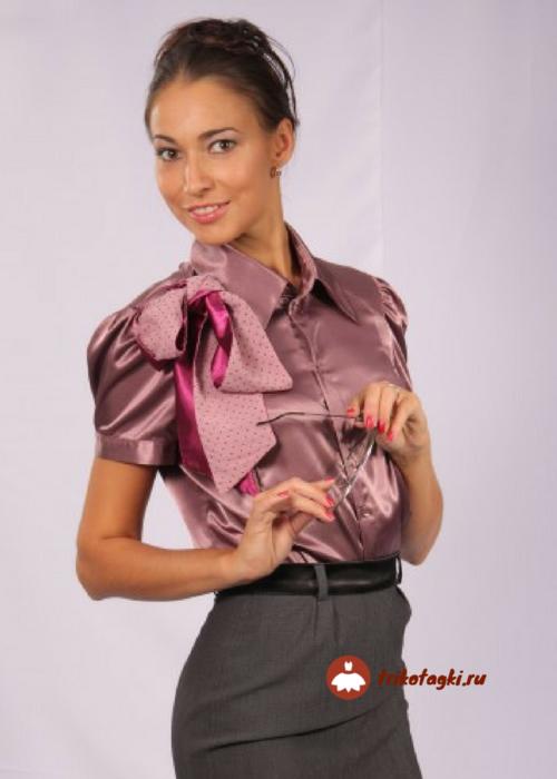 Блузка женская сиреневая с коротким рукавом
