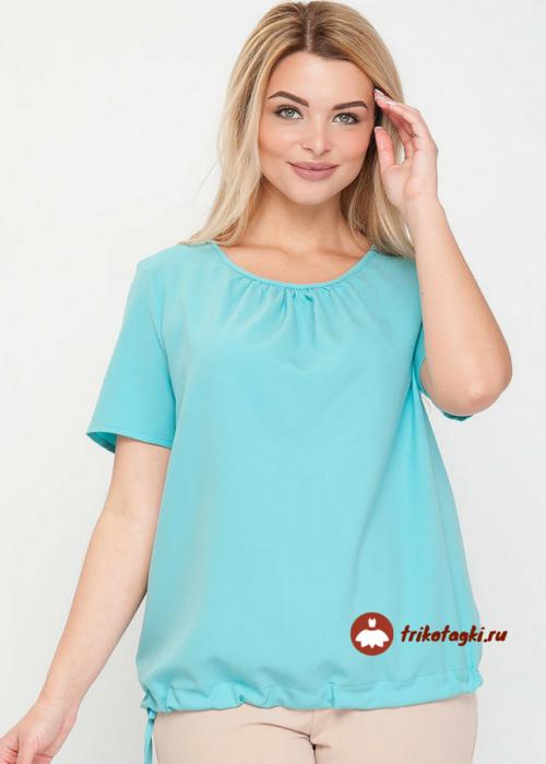 Блузон женский голубой с коротким рукавом