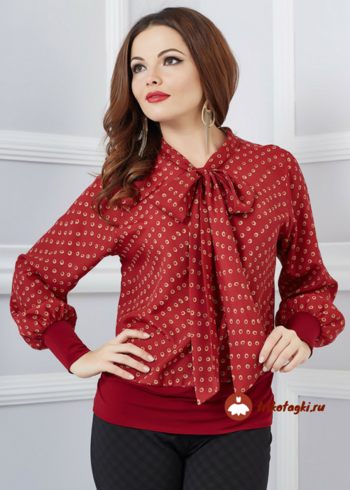 Блузон женский красный с длинным рукавом