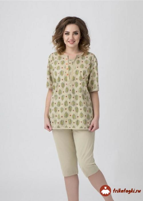 Пижама светлозеленая с бриджами