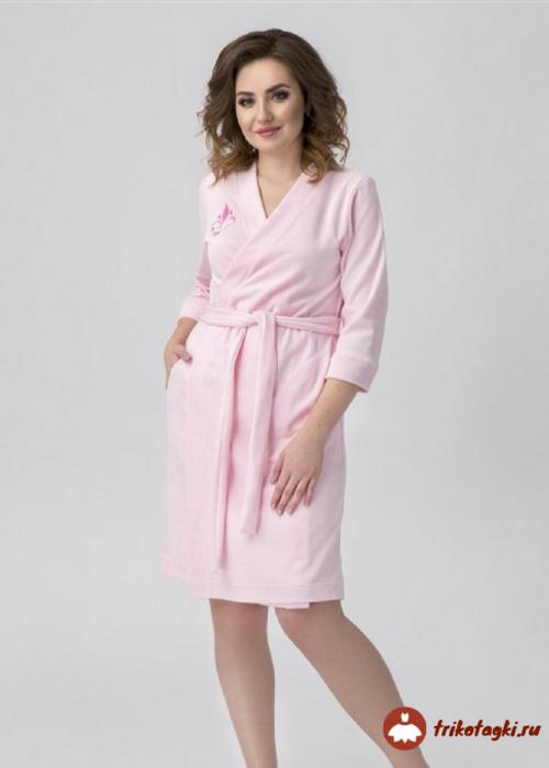 Халат велюровый розовый