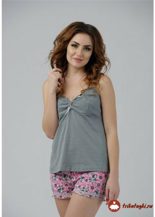 Пижама женская с цветными шортами