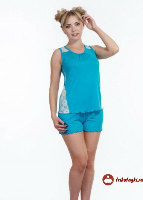 Пижама женская с шортами голубая