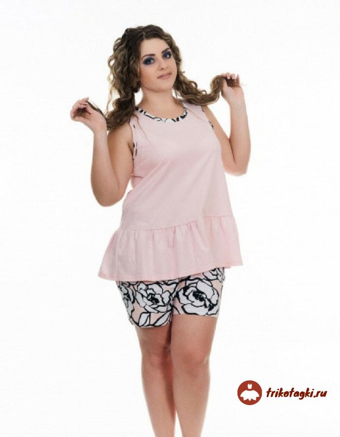 Костюм с шортами розовый с черным