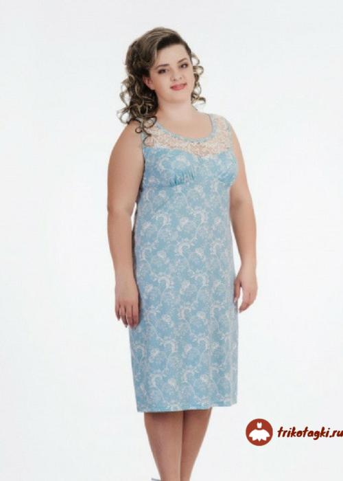 Сорочка женская на лямках голубая