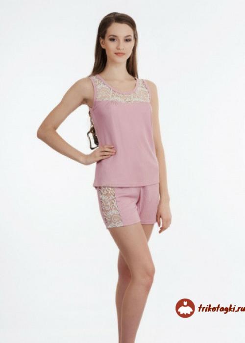 Пижама женская розовая с шортами