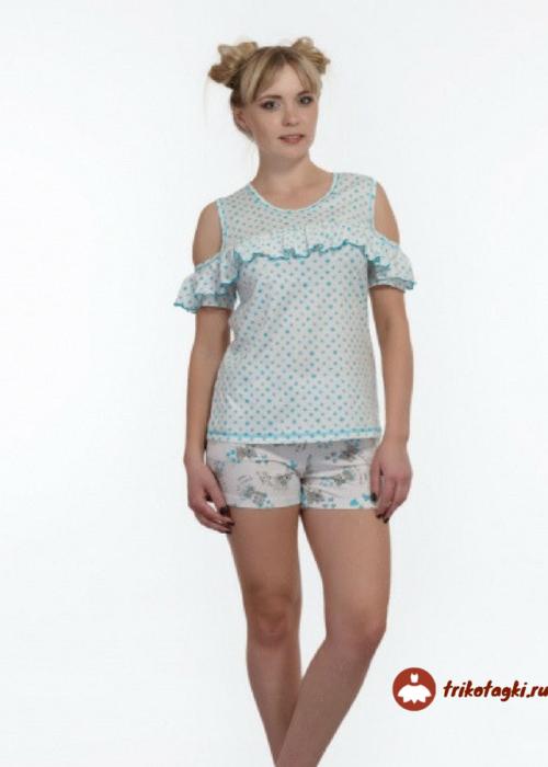 Пижама женская с рюшами голубая