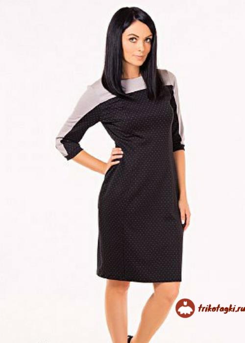 Платье черное с бежевыми плечами