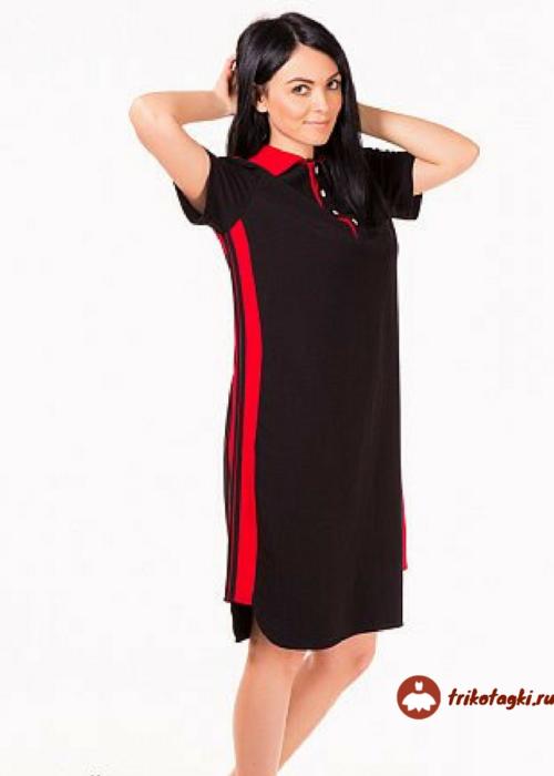 Платье черное с лампасами