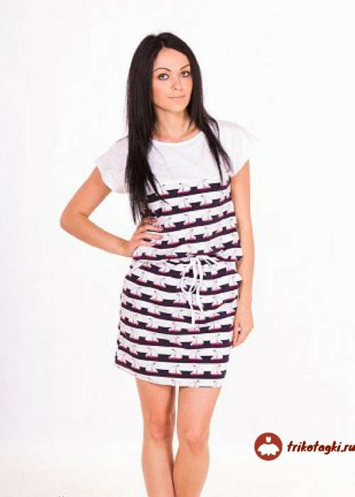 Платье белое с черной полоской